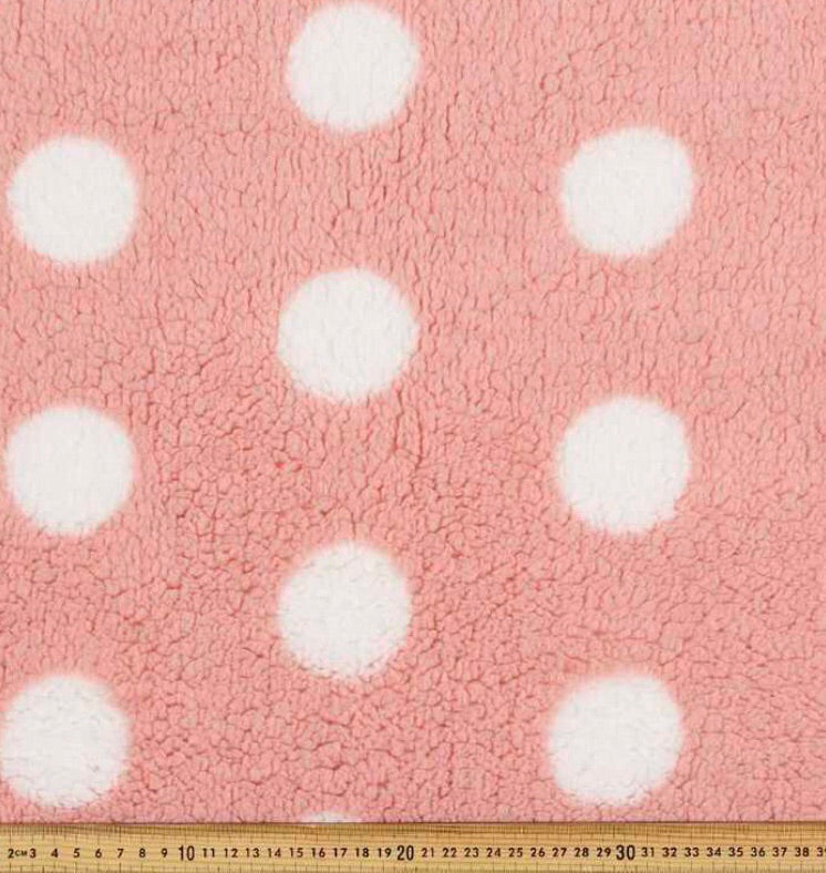Pink polkerdot fleece - Percy and Paige