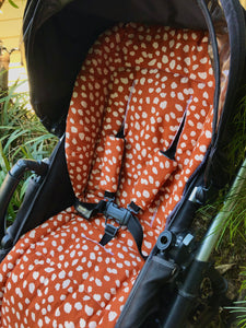 Custom liner made for your model of pram- Animal print in rust