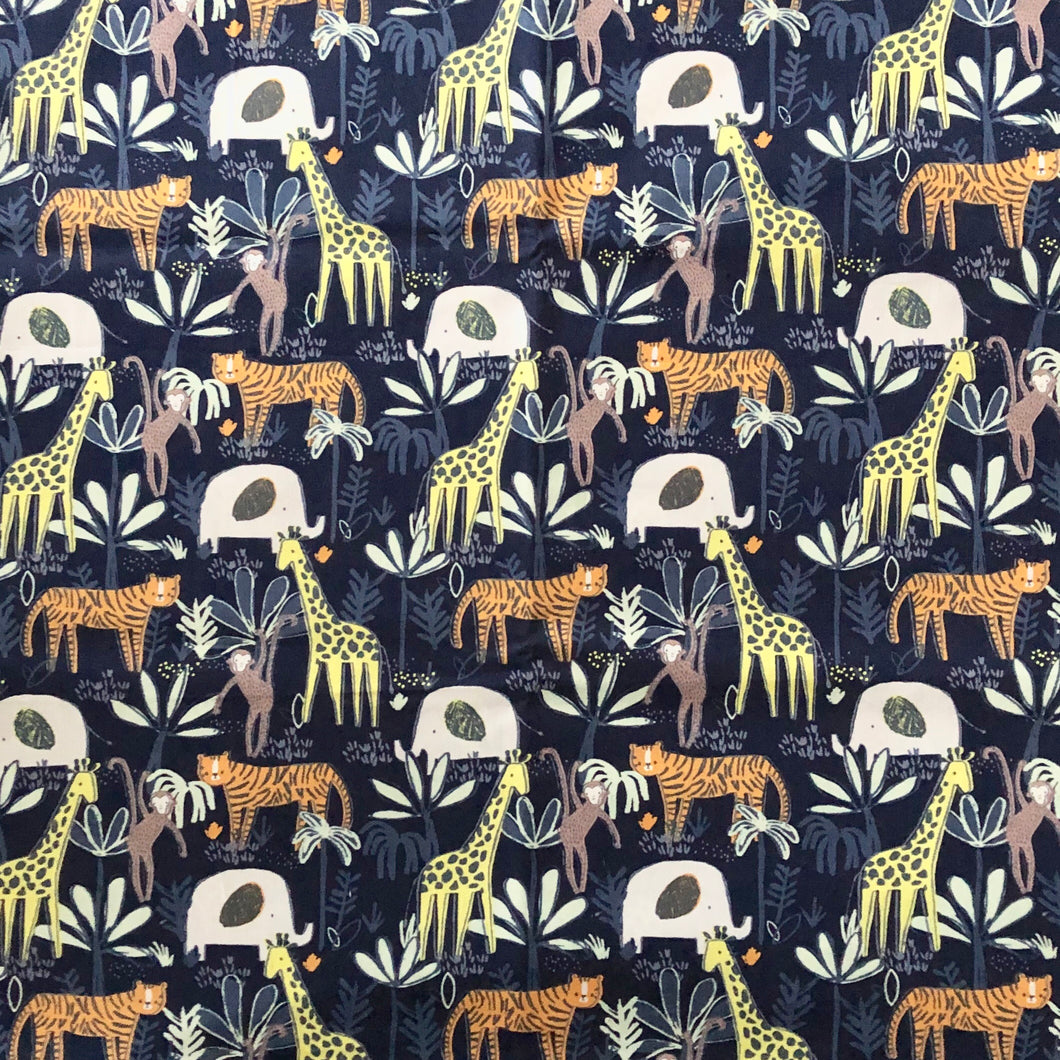 Jungle animals in navy - Percy and Paige tiny traveller footmuff pram blanket best footmuffs universal footmuff australian made footmuffs warm and practical