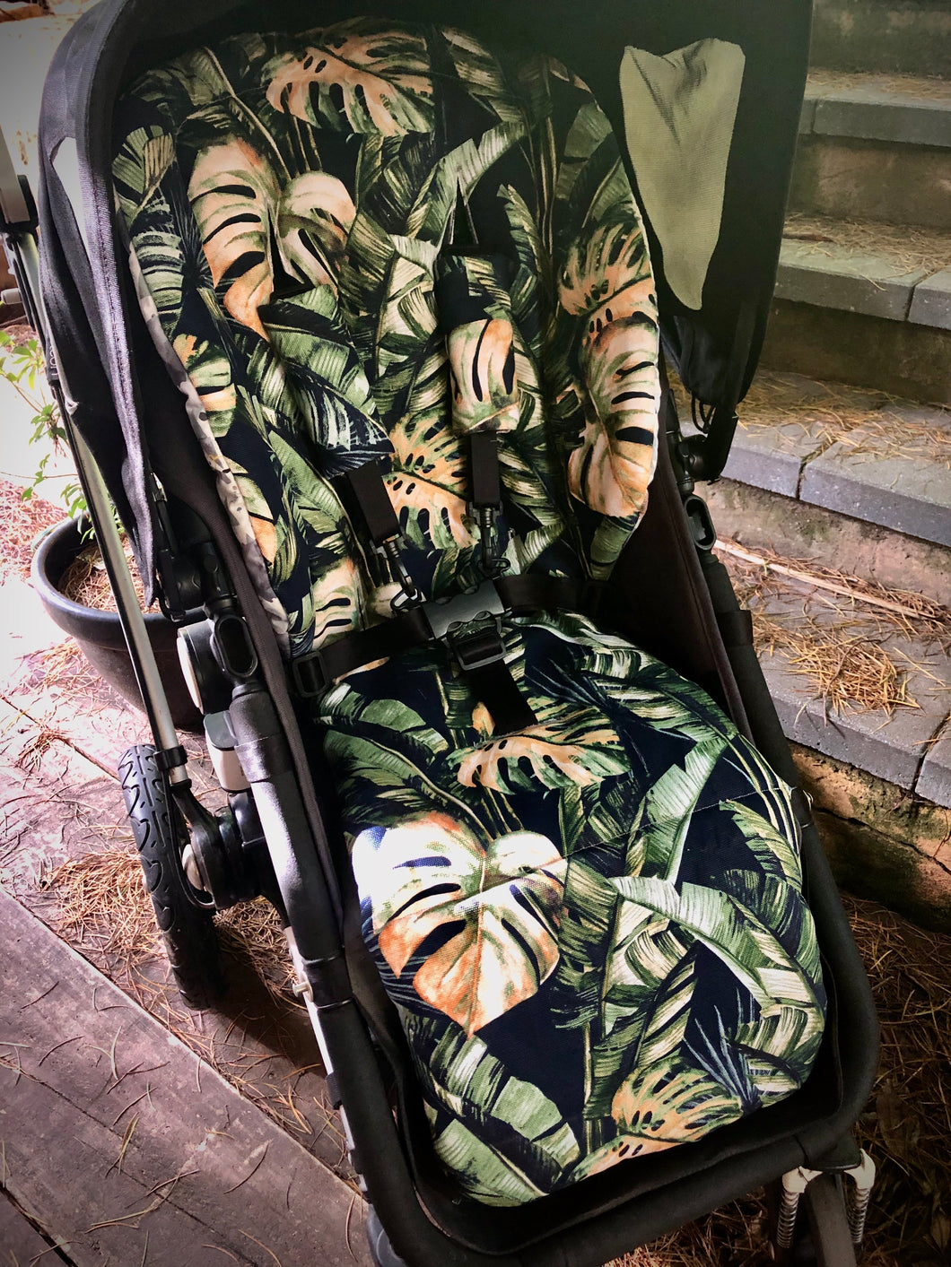 Custom liner made for your model of pram- Tropics leaf - Percy and Paige tiny traveller footmuff pram blanket best footmuffs universal footmuff australian made footmuffs warm and practical