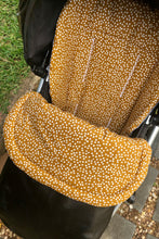 Load image into Gallery viewer, Weather resistant Footmuff- Black Faux Leather / Mustard speckles - Percy and Paige tiny traveller footmuff pram blanket best footmuffs universal footmuff australian made footmuffs warm and practical