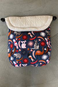 Custom liner- Australiana animals - Percy and Paige tiny traveller footmuff pram blanket best footmuffs universal footmuff australian made footmuffs warm and practical