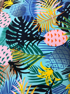 Custom liner made for your model of pram- Pineapple banana leaf - Percy and Paige tiny traveller footmuff pram blanket best footmuffs universal footmuff australian made footmuffs warm and practical