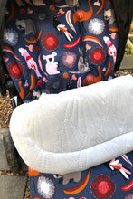 Load image into Gallery viewer, Custom liner- Australiana animals - Percy and Paige tiny traveller footmuff pram blanket best footmuffs universal footmuff australian made footmuffs warm and practical
