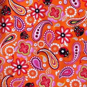 Paisley on orange - Percy and Paige tiny traveller footmuff pram blanket best footmuffs universal footmuff australian made footmuffs warm and practical