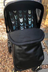 Weather resistant Footmuff- Black Faux Leather / Black cotton - Percy and Paige tiny traveller footmuff pram blanket best footmuffs universal footmuff australian made footmuffs warm and practical