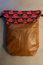 Load image into Gallery viewer, Weather resistant Footmuff- Red floral / Brown faux Leather - Percy and Paige