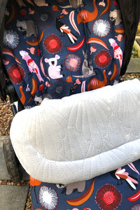 Custom liner and footmuff set- Australiana animals/grey quilted velvet - Percy and Paige tiny traveller footmuff pram blanket best footmuffs universal footmuff australian made footmuffs warm and practical