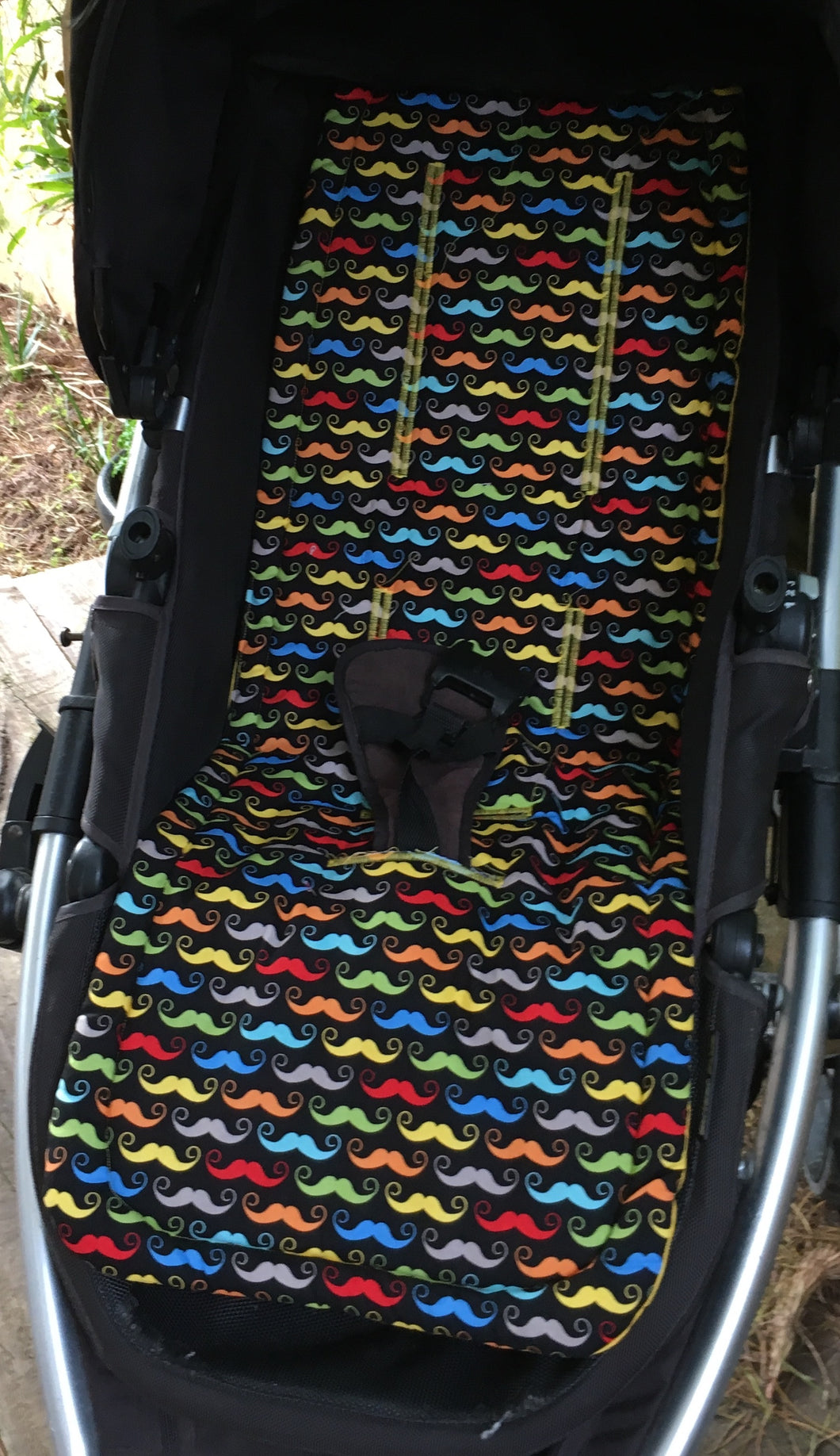 Universal liner-multi coloured moustaches - Percy and Paige tiny traveller footmuff pram blanket best footmuffs universal footmuff australian made footmuffs warm and practical
