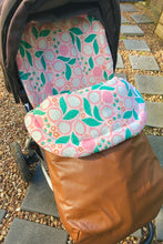 Load image into Gallery viewer, Custom liner and footmuff set- Abstract Flowers/brown Weather Resistant - Percy and Paige tiny traveller footmuff pram blanket best footmuffs universal footmuff australian made footmuffs warm and practical