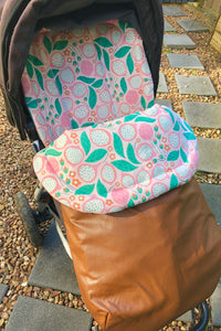 Custom liner and footmuff set- Abstract Flowers/brown Weather Resistant - Percy and Paige tiny traveller footmuff pram blanket best footmuffs universal footmuff australian made footmuffs warm and practical