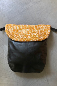 Weather resistant Footmuff- Black Faux Leather / Mustard speckles - Percy and Paige tiny traveller footmuff pram blanket best footmuffs universal footmuff australian made footmuffs warm and practical