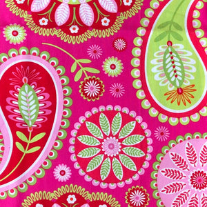 Large paisley on pink - Percy and Paige tiny traveller footmuff pram blanket best footmuffs universal footmuff australian made footmuffs warm and practical