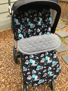 Custom liner- space age - Percy and Paige tiny traveller footmuff pram blanket best footmuffs universal footmuff australian made footmuffs warm and practical