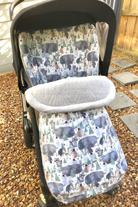 Dapper animals - Percy and Paige tiny traveller footmuff pram blanket best footmuffs universal footmuff australian made footmuffs warm and practical