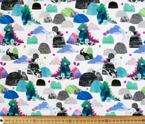 Custom liner- Dino mountains - Percy and Paige tiny traveller footmuff pram blanket best footmuffs universal footmuff australian made footmuffs warm and practical