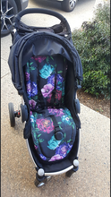 Load image into Gallery viewer, Custom liner made for your model of pram- Large roses purple and aqua - Percy and Paige tiny traveller footmuff pram blanket best footmuffs universal footmuff australian made footmuffs warm and practical