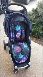 Custom liner made for your model of pram- Large roses purple and aqua - Percy and Paige tiny traveller footmuff pram blanket best footmuffs universal footmuff australian made footmuffs warm and practical