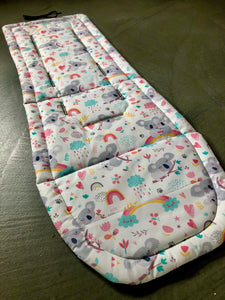 Custom liner made for your model of pram-rainbow koalas