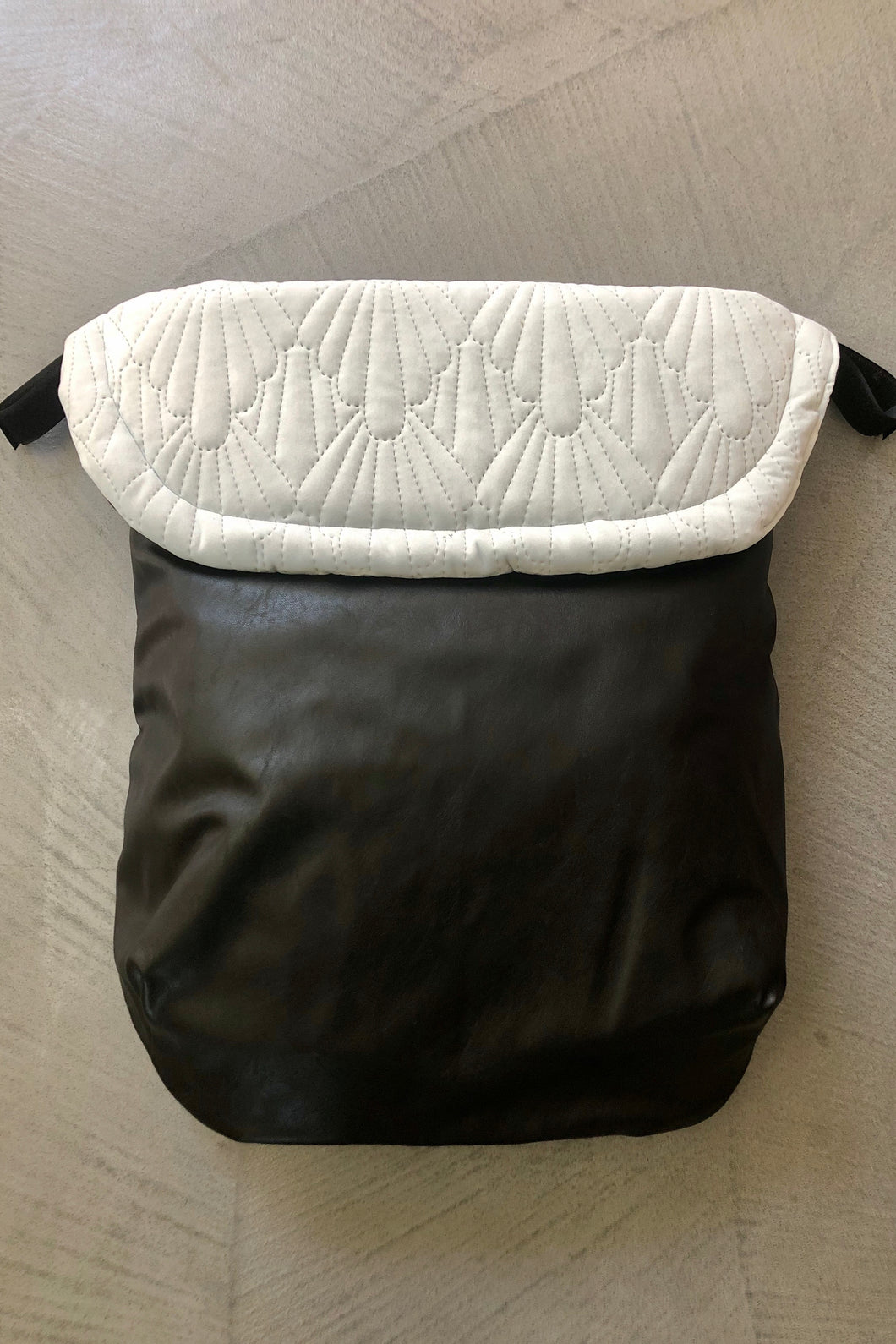 Weather resistant Footmuff- Black Faux Leather / Quilted Velvet Ice blue - Percy and Paige tiny traveller footmuff pram blanket best footmuffs universal footmuff australian made footmuffs warm and practical
