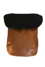 Load image into Gallery viewer, Weather Resistant Footmuff- Brown Faux Leather/Black sherpa - Percy and Paige tiny traveller footmuff pram blanket best footmuffs universal footmuff australian made footmuffs warm and practical