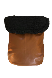 Weather Resistant Footmuff- Brown Faux Leather/Black sherpa - Percy and Paige tiny traveller footmuff pram blanket best footmuffs universal footmuff australian made footmuffs warm and practical