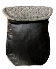 Load image into Gallery viewer, Weather resistant Footmuff- Grey quilted / Black faux Leather - Percy and Paige tiny traveller footmuff pram blanket best footmuffs universal footmuff australian made footmuffs warm and practical