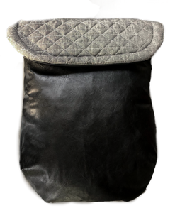 Weather resistant Footmuff- Grey quilted / Black faux Leather - Percy and Paige tiny traveller footmuff pram blanket best footmuffs universal footmuff australian made footmuffs warm and practical