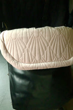 Load image into Gallery viewer, Weather resistant Footmuff- Black Faux Leather / Quilted Velvet Pink - Percy and Paige