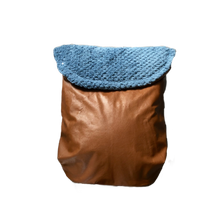 Load image into Gallery viewer, Weather resistant Footmuff- brown faux Leather / Teal Bubble polar fleece - Percy and Paige