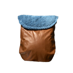 Weather resistant Footmuff- brown faux Leather / Teal Bubble polar fleece - Percy and Paige