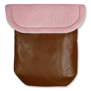 Custom liner and footmuff set- pink quilted velvet/black leather - Percy and Paige tiny traveller footmuff pram blanket best footmuffs universal footmuff australian made footmuffs warm and practical