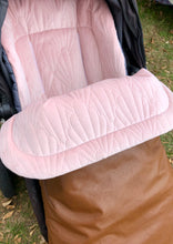 Load image into Gallery viewer, Custom liner and footmuff set- pink quilted velvet/black leather - Percy and Paige tiny traveller footmuff pram blanket best footmuffs universal footmuff australian made footmuffs warm and practical