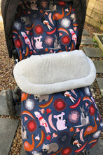Load image into Gallery viewer, Custom liner and footmuff set- Australiana animals/grey quilted velvet - Percy and Paige tiny traveller footmuff pram blanket best footmuffs universal footmuff australian made footmuffs warm and practical
