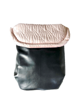 Load image into Gallery viewer, Weather resistant Footmuff- Black Faux Leather / Quilted Velvet Pink - Percy and Paige tiny traveller footmuff pram blanket best footmuffs universal footmuff australian made footmuffs warm and practical