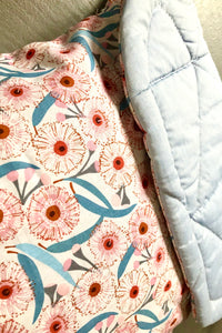 Eucalyptus flowers/Blue quilted cotton - Percy and Paige tiny traveller footmuff pram blanket best footmuffs universal footmuff australian made footmuffs warm and practical