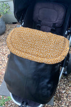 Load image into Gallery viewer, Custom liner and footmuff set- mustard speckles/black leather - Percy and Paige tiny traveller footmuff pram blanket best footmuffs universal footmuff australian made footmuffs warm and practical