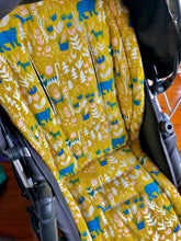 Load image into Gallery viewer, Custom liner made for your model of pram- jungle animals in mustard