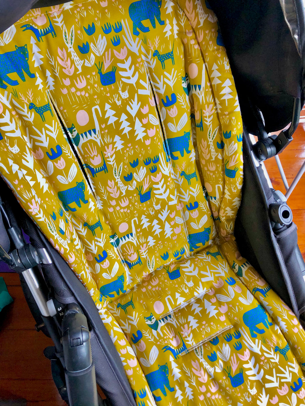 Custom liner made for your model of pram- jungle animals in mustard