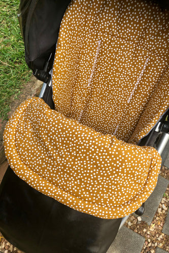 Custom liner and footmuff set- mustard speckles/black leather - Percy and Paige tiny traveller footmuff pram blanket best footmuffs universal footmuff australian made footmuffs warm and practical