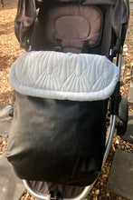 Load image into Gallery viewer, Weather resistant Footmuff- Black Faux Leather / Quilted Velvet Ice blue - Percy and Paige tiny traveller footmuff pram blanket best footmuffs universal footmuff australian made footmuffs warm and practical