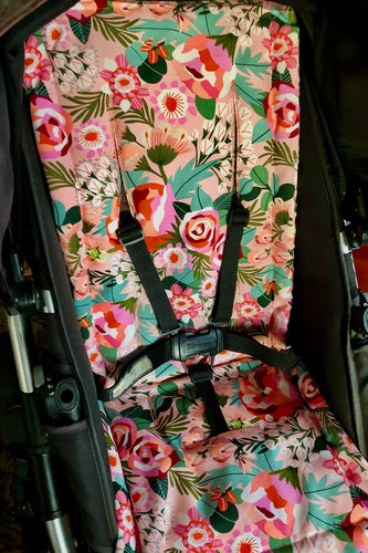 Custom liner made for your model of pram- Digital roses - Percy and Paige tiny traveller footmuff pram blanket best footmuffs universal footmuff australian made footmuffs warm and practical