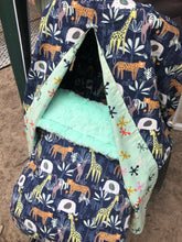 Load image into Gallery viewer, Jungle animals in navy - Percy and Paige tiny traveller footmuff pram blanket best footmuffs universal footmuff australian made footmuffs warm and practical