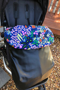 Custom liner- Funky Flowers - Percy and Paige tiny traveller footmuff pram blanket best footmuffs universal footmuff australian made footmuffs warm and practical