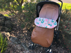 Custom liner and footmuff set- brown leather/abstract flowers pink - Percy and Paige tiny traveller footmuff pram blanket best footmuffs universal footmuff australian made footmuffs warm and practical