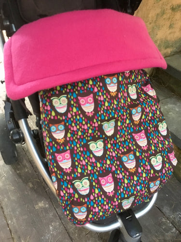 Whimsical owl/pink fleece - Percy and Paige tiny traveller footmuff pram blanket best footmuffs universal footmuff australian made footmuffs warm and practical