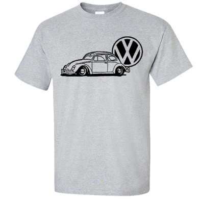VW Retro Custom Beetle T-Shirt - Classic Grey