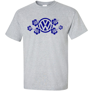 VW Blue Hawaiian Flower T-Shirt - Classic Grey