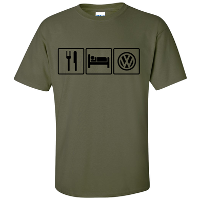 VW Eat Sleep T-Shirt - Military Green