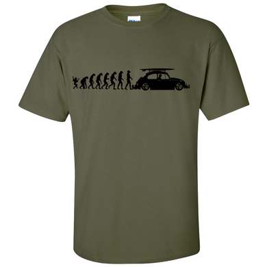 VW Evolution to Beetle T-Shirt - Military Green